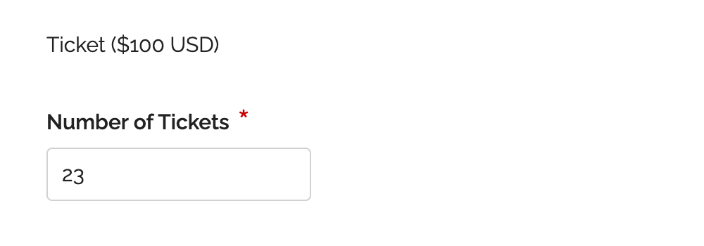 Online Form with Quantity Box